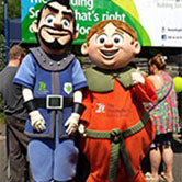 Two performer/entertainers dressed up in full costume