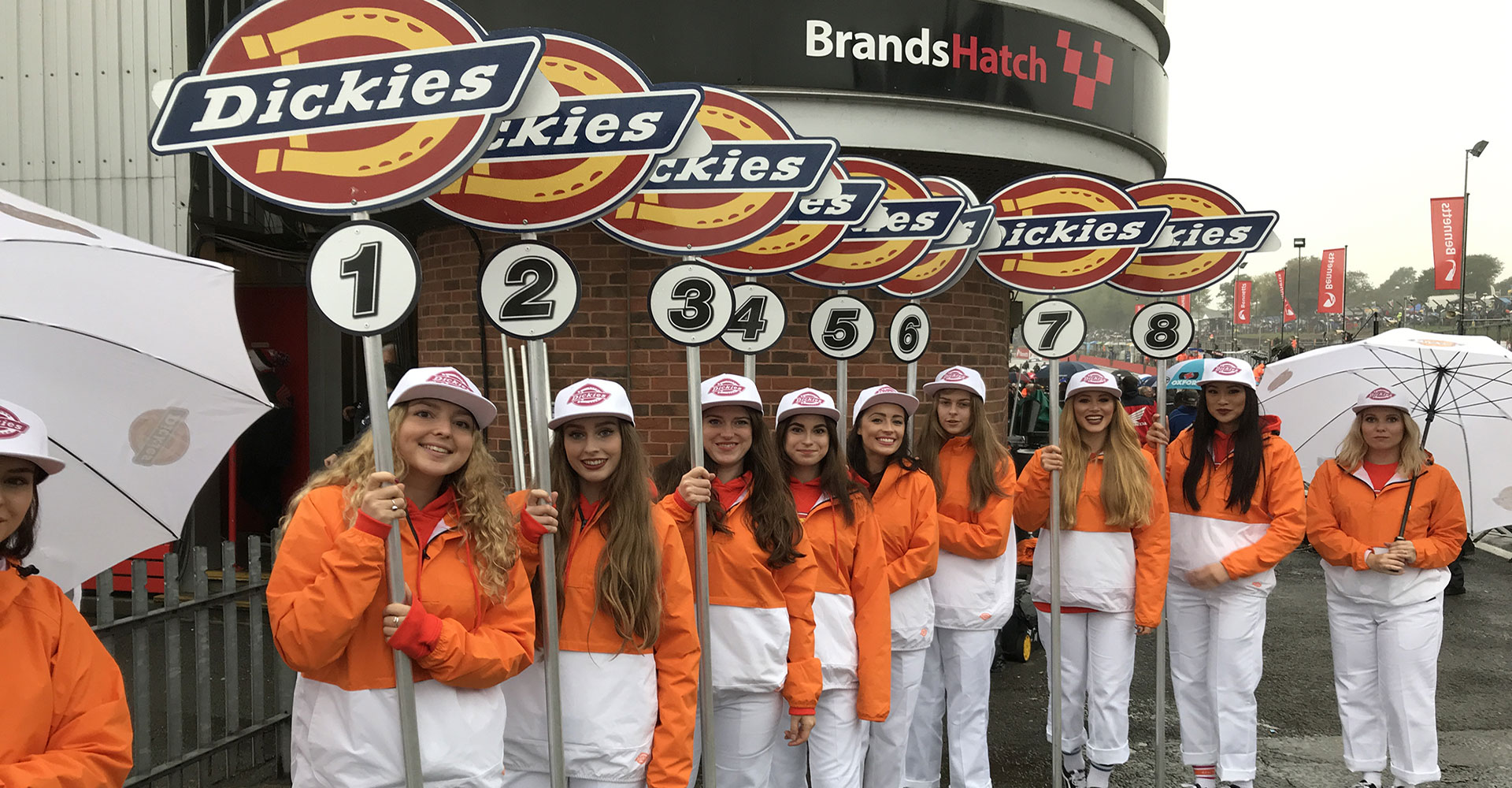 Pitlane promotional models at minibike supercross event
